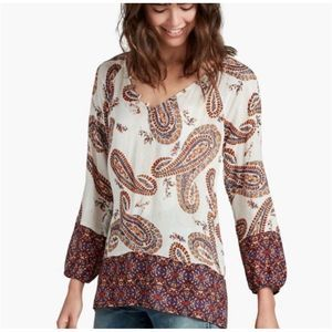 Lucky Brand Paisley Boho Peasant Top
